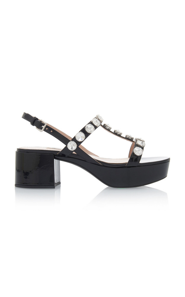 Miu Miu Embellished Patent Leather Platform Sandals Size: 35 in black