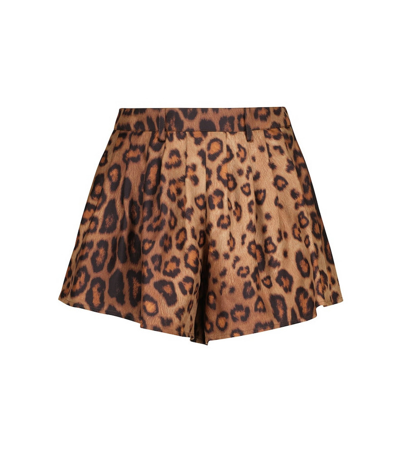 ETRO Leopard-print silk faille shorts in brown