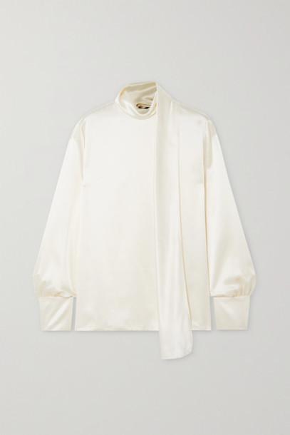 TOM FORD - Draped Silk-satin Blouse - White
