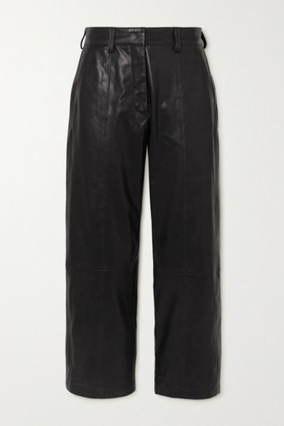 Anine Bing - Leah Cropped Leather Straight-leg Pants - Black
