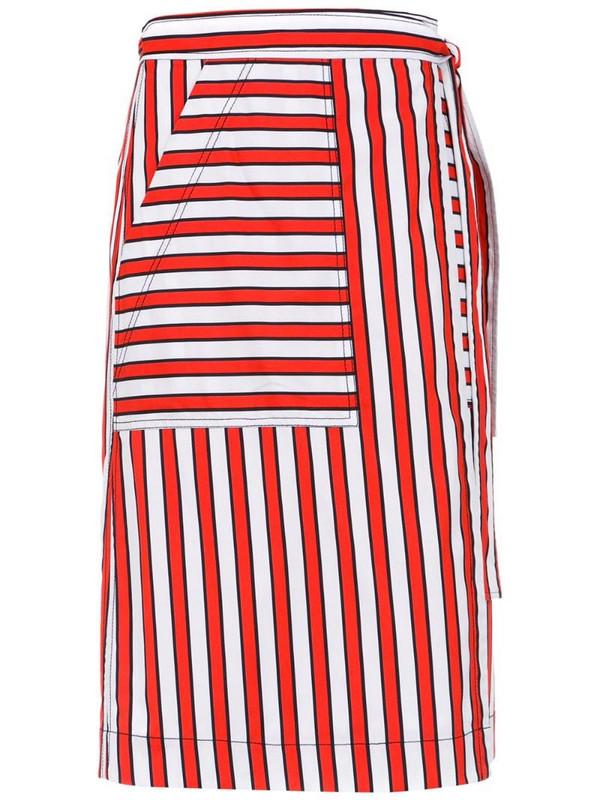 Reinaldo Lourenço striped skirt in red