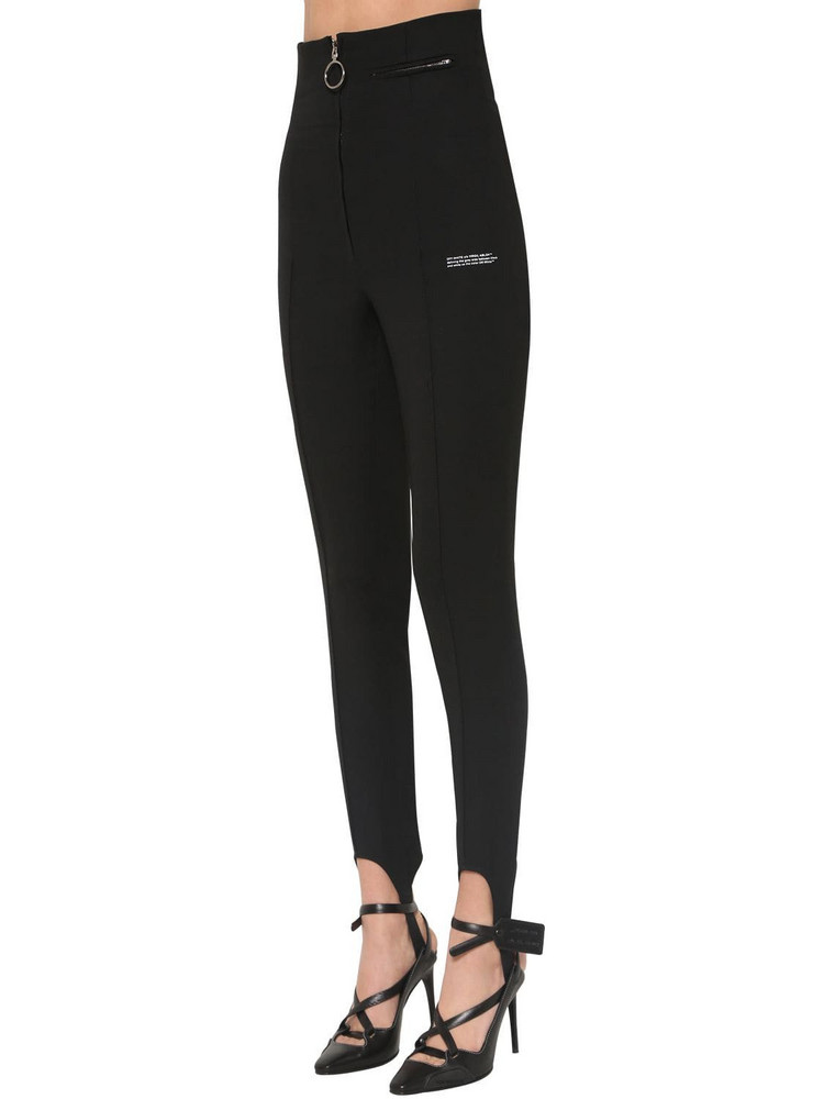 OFF WHITE High Waist Fitted Crepe Pants in black