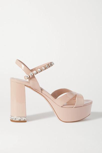 Miu Miu - Crystal-embellished Patent-leather Platform Sandals - Neutral