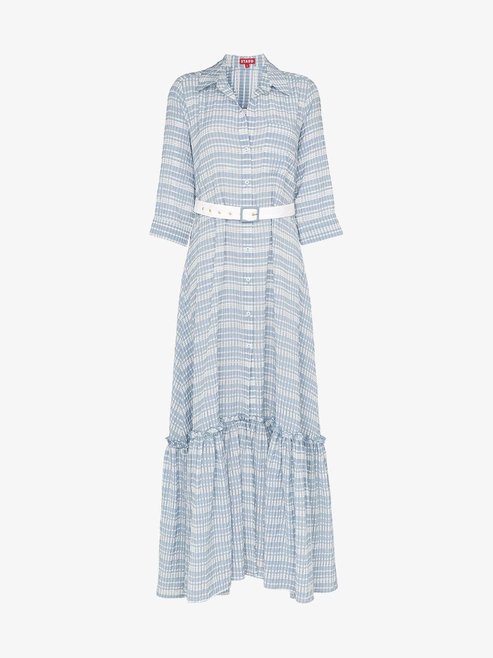 Staud Button-down belted cotton blend maxi dress in blue