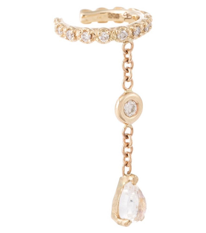 Jacquie Aiche 14kt gold ear cuff with diamonds and moonstone