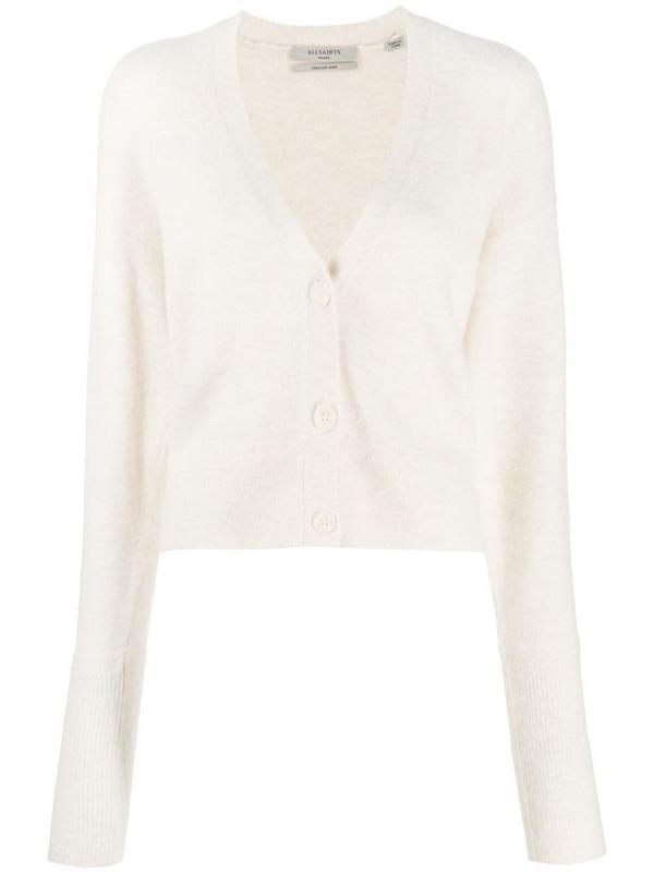 AllSaints v-neck knitted cardigan in white