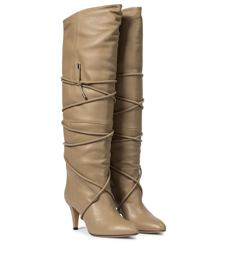 Isabel Marant Lades leather knee-high boots in beige
