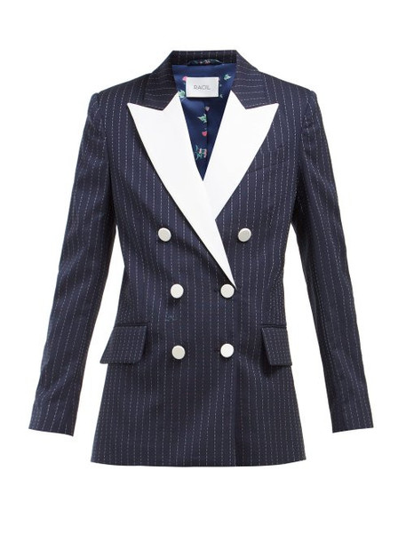 Racil - Casablanca Double Breasted Pinstripe Tuxedo Jacket - Womens - Navy White