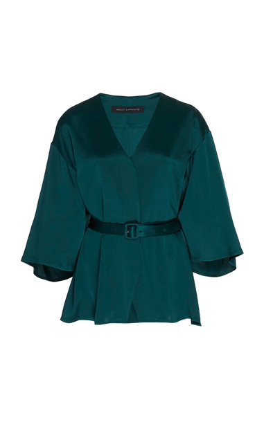 Sally LaPointe Doubleface Satin Belted Kimono Top in green