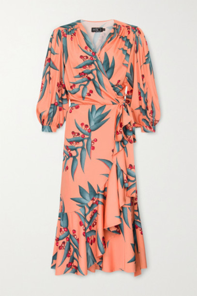 PatBO - Ruffled Floral-print Crepe Midi Wrap Dress - Coral