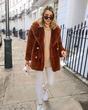 jacket,faux fur jacket,white jeans,white sneakers,white bag,white sweater