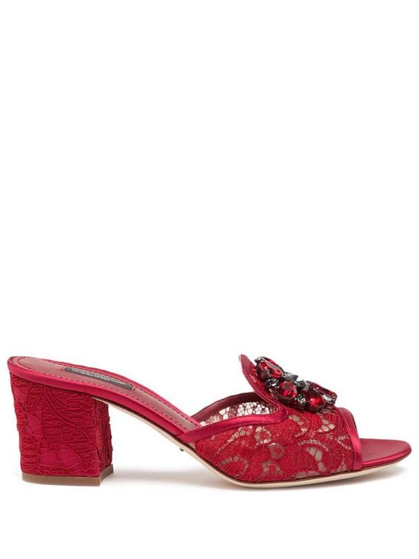 Dolce & Gabbana crystal-embellished lace slide sandals in red