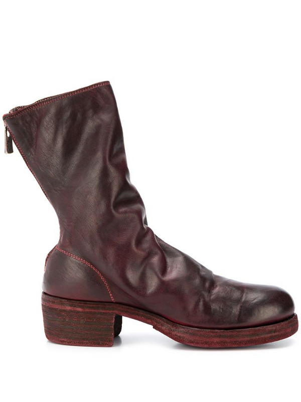 Guidi worn effect boots in brown