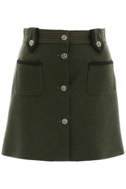 Miu Miu Loden Mini Skirt in green