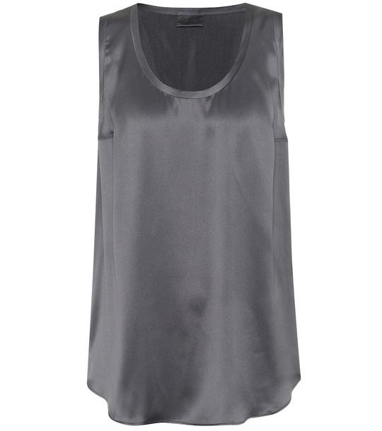 Brunello Cucinelli Stretch silk-satin tank top in grey