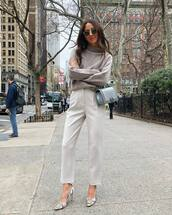 sweater,turtleneck sweater,high waisted pants,pleated,straight pants,bag
