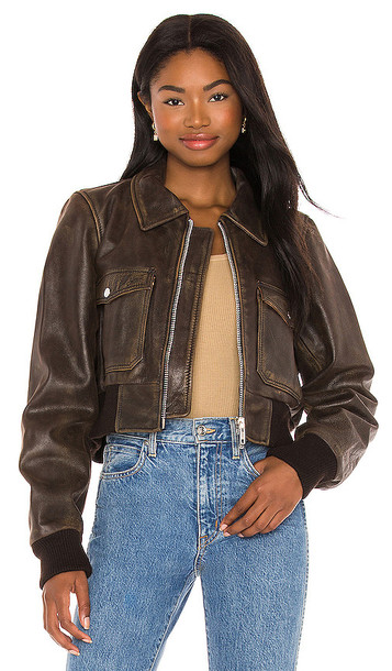 Understated Leather Spirit Bomber Jacket in Chocolate in brown