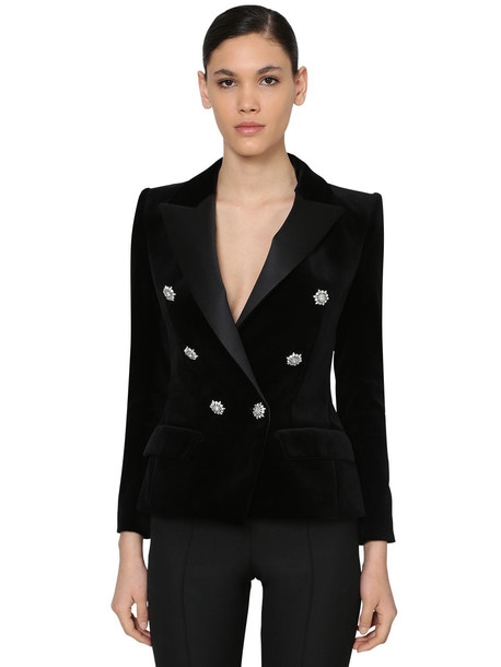 ALEXANDRE VAUTHIER Double Breast Velvet Blazer W/ Crystals in black