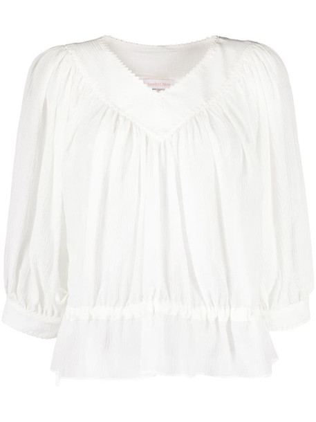 See by Chloé peplum hem gathered blouse in white