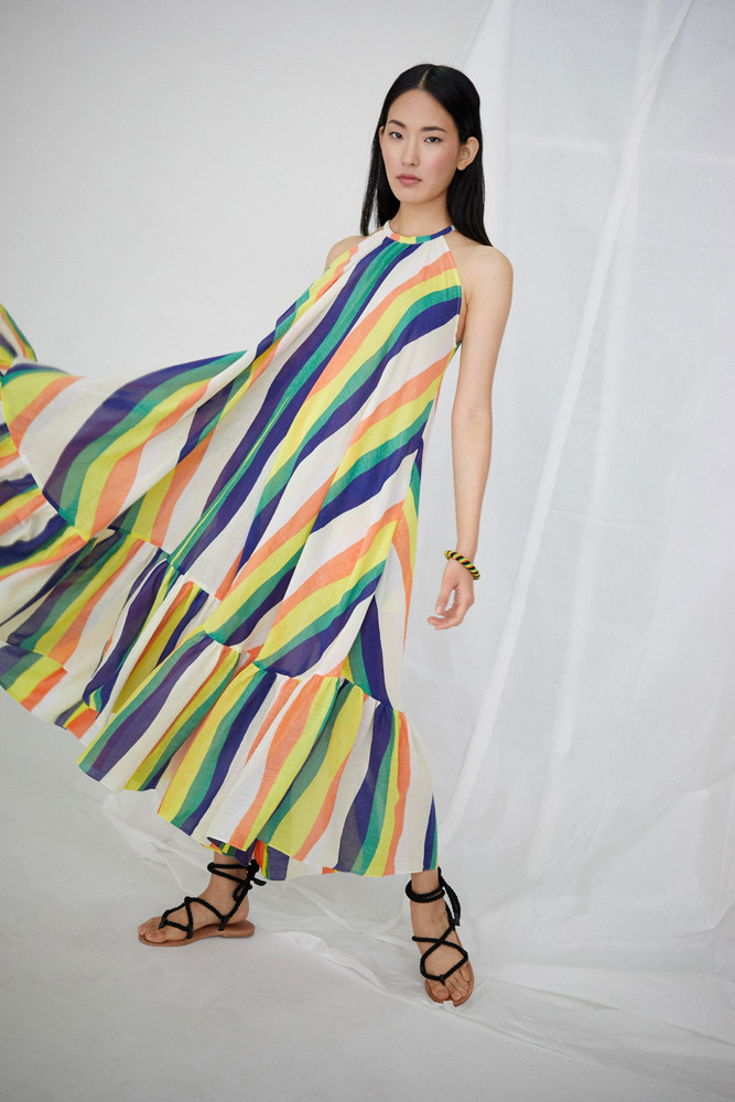 WHIT Orly Dress in Wavy Stripes *Pre-order for April Delivery*