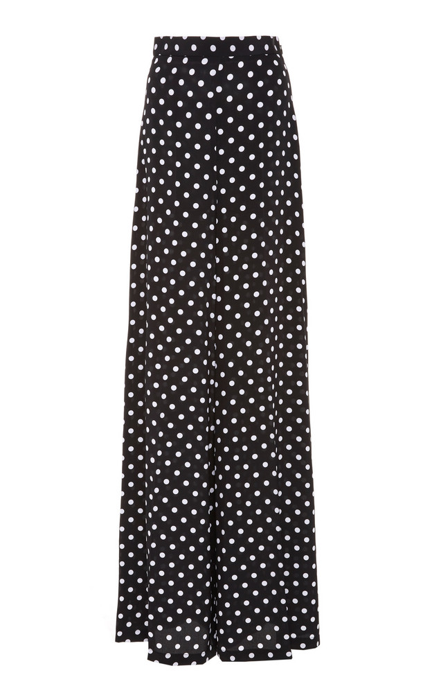 Michael Kors Collection Polka-Dot Silk-Georgette Wide-Leg Pants Size: in black