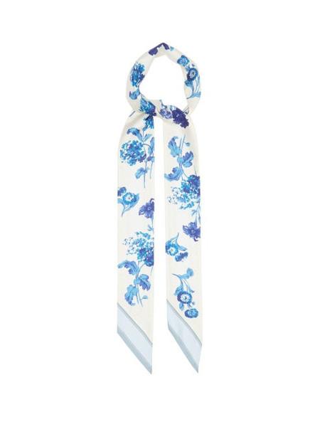 Burberry - Floral-print Silk-twill Scarf - Womens - Blue