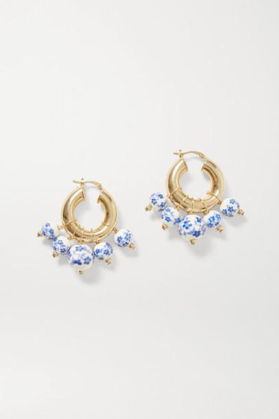 éliou éliou - Sandro Gold-plated Bead Earrings - Blue
