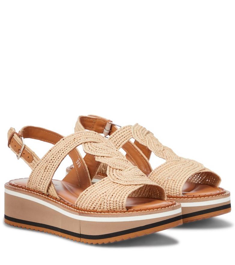 Clergerie Frankie raffia platform sandals in beige