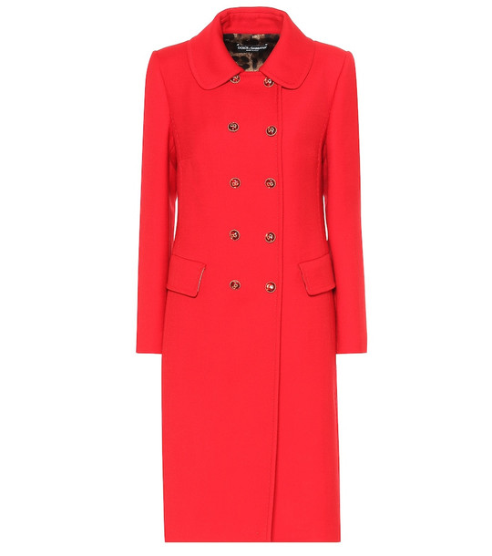 Dolce & Gabbana Double-breasted wool-crêpe coat in red