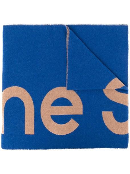 Acne Studios logo print scarf in blue