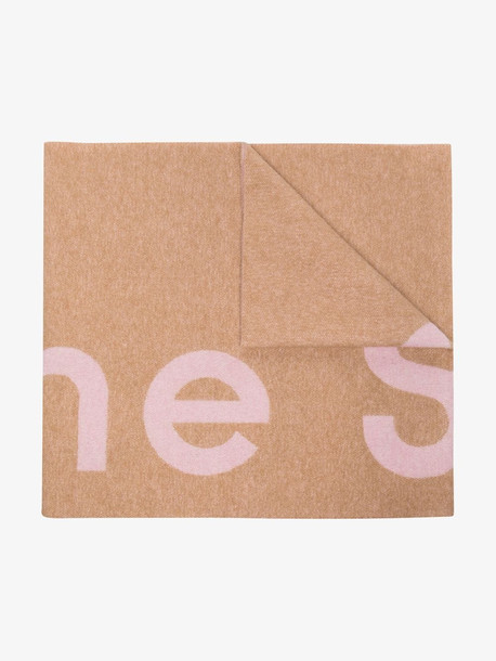 Acne Studios beige Toronty logo jacquard reversible scarf