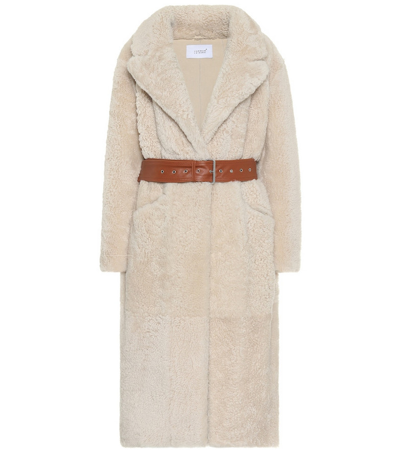 Common Leisure Love Fire shearling coat in beige