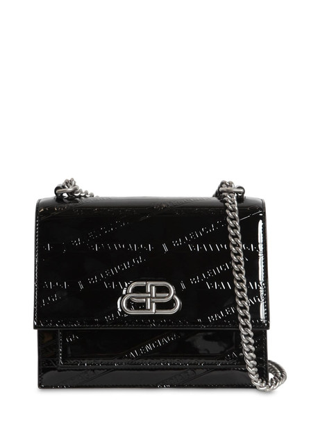 BALENCIAGA Xs Sharp Embossed Patent Leather Bag in black