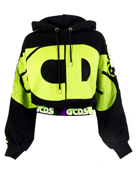 GCDS Black Cotton Logo Stripe Hoodie