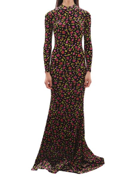 Balenciaga Black Floral Evening Dress