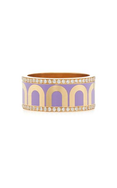 DAVIDOR L'Arc de DAVIDOR Ring GM, 18k Yellow Gold with Lavande Lacquer in purple