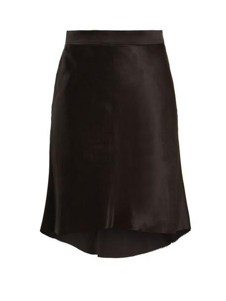 Raey - Bias Godet Silk Satin Slip Skirt - Womens - Black