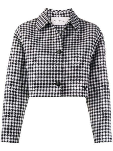 Valentino cropped check pattern jacket in black