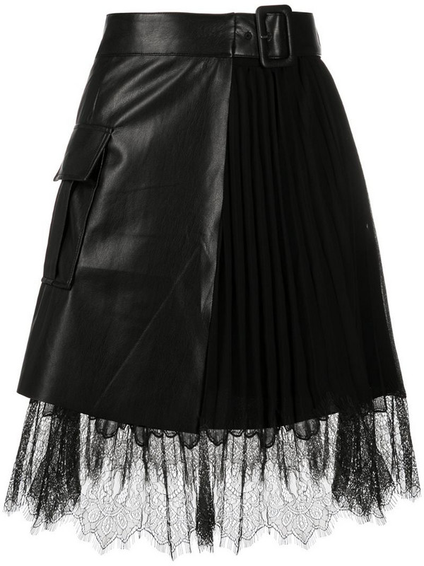 Self-Portrait lace-trimmed belted mini skirt in black