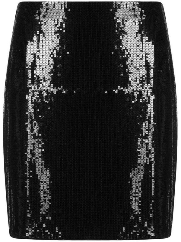 HUGO high-waisted patent skirt in black