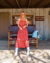 dress,maxi dress,plaid dress,sleeveless dress,white boots,cowboy boots,summer dress