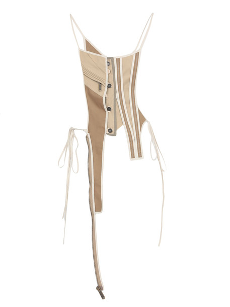 Dsquared2 Deconstructed Asymmetric Bustier in beige