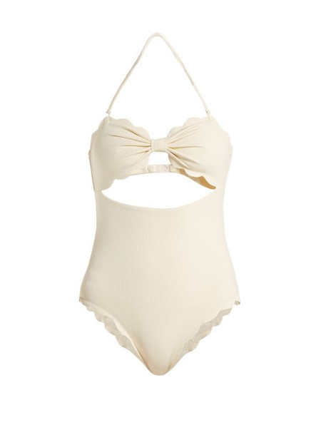 Marysia - Antibes Scallop Edged Swimsuit - Womens - Cream