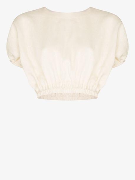 Matteau Linen pouf sleeve crop top in white