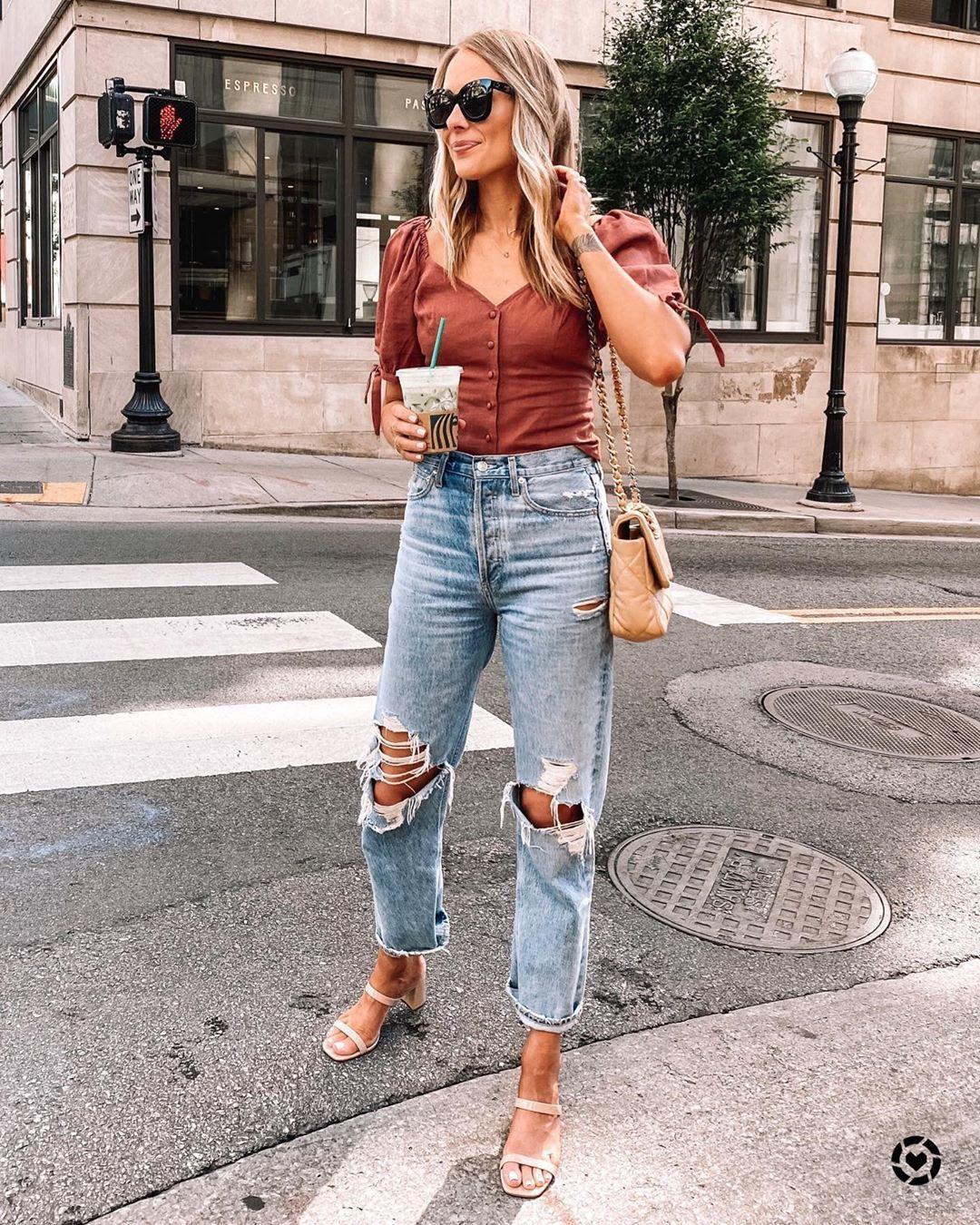top off the shoulder ripped jeans sandal heels bag