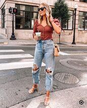 top,off the shoulder,ripped jeans,sandal heels,bag