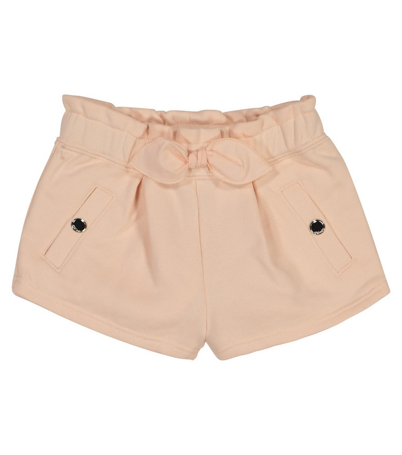 Chloé Kids Baby bow-trimmed cotton-blend shorts in pink