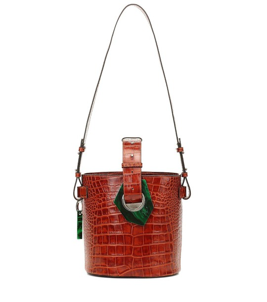 Ganni Croc-effect leather bucket bag in red