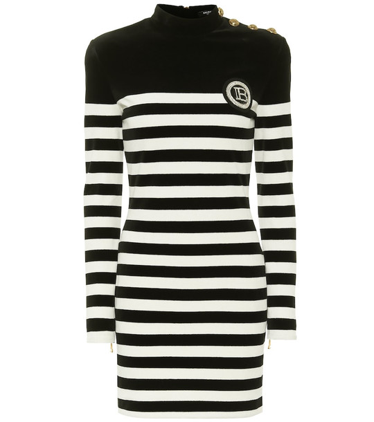 Balmain Appliquéd striped velvet minidress in black