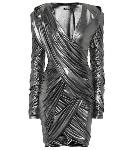 Balmain Hooded lamé minidress in silver